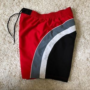 (3/$25) OLYMPIA | Red Swim Trunks Shorts